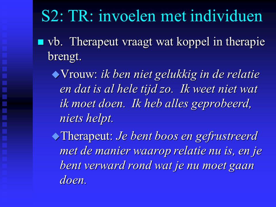 S2: TR: invoelen met individuen n vb. Therapeut vraagt wat koppel in therapie brengt. u Vrouw: ik ben niet gelukkig in de relatie en dat is al hele ti