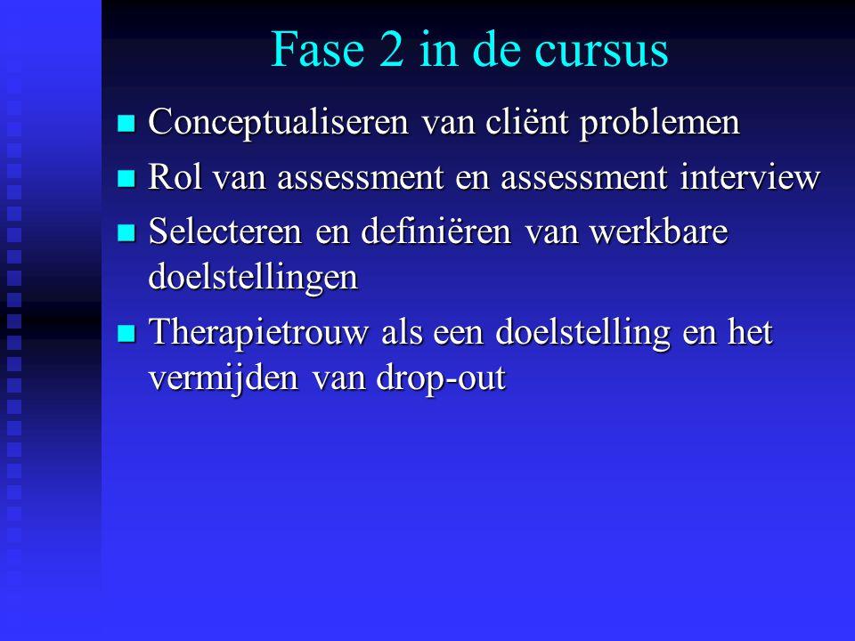 Fase 2 in de cursus n Conceptualiseren van cliënt problemen n Rol van assessment en assessment interview n Selecteren en definiëren van werkbare doelstellingen n Therapietrouw als een doelstelling en het vermijden van drop-out