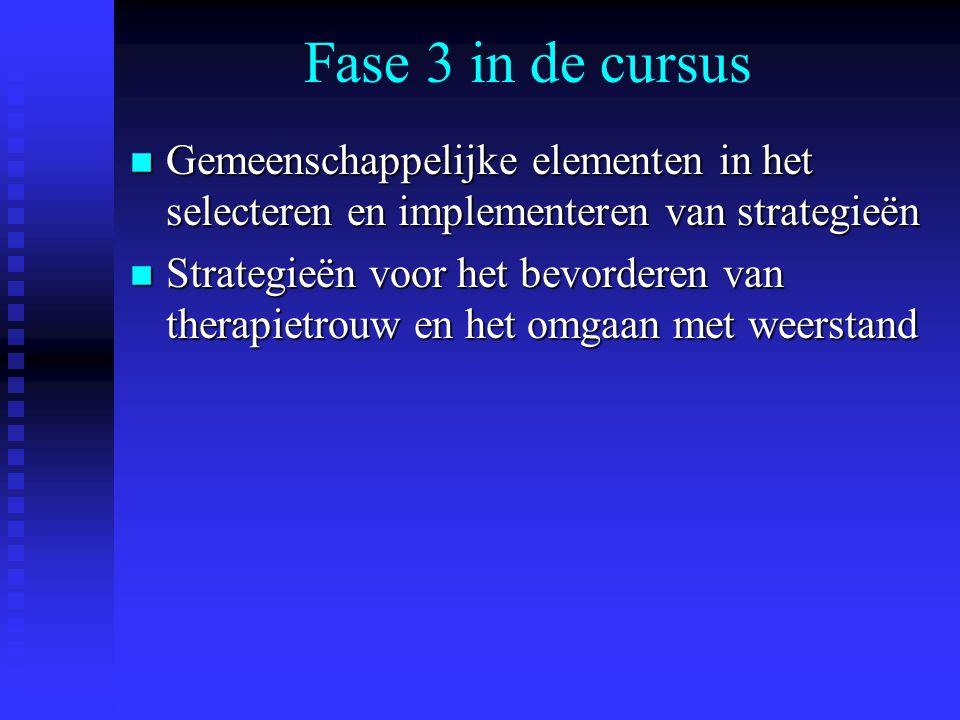 Fase 3 in de cursus n Gemeenschappelijke elementen in het selecteren en implementeren van strategieën n Strategieën voor het bevorderen van therapietr