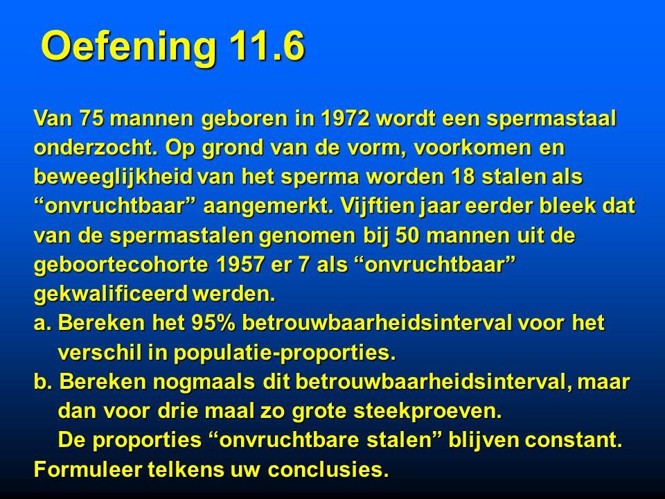 nA = 24XA = 17SA = 5.2 (mm) nB = 16XB = 20SB = 6.5 (mm) Puntschatting : XA - XB = -3 95%BI :  = 0.05; = 24 + 16 - 2 = 38; 95% BI : [-3 - 2.02*1.94; -