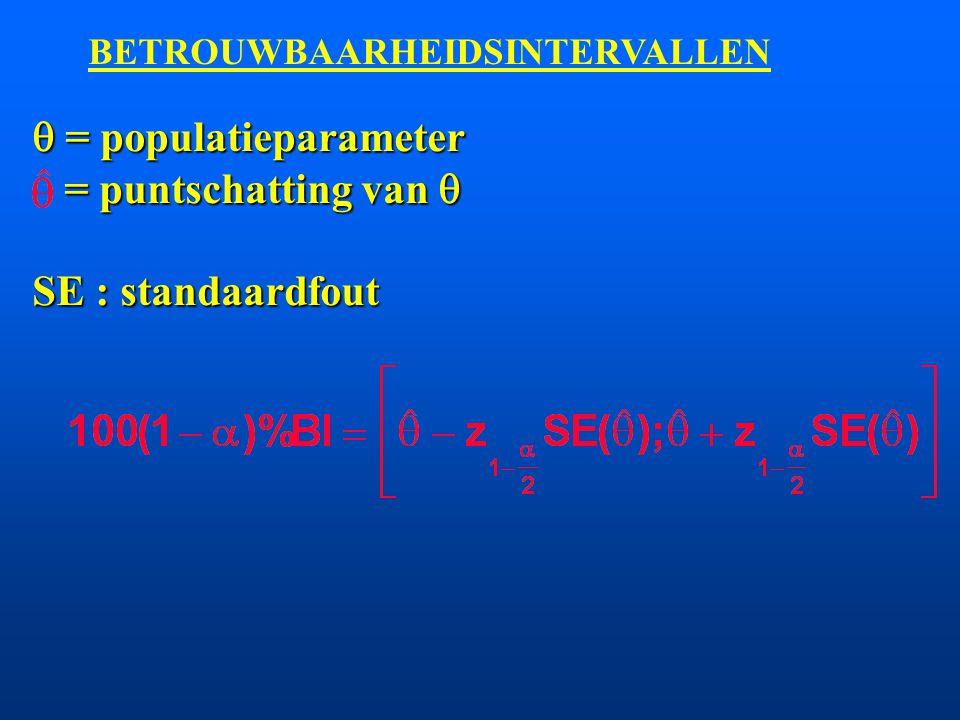 n = 100 = 12 j Puntschatting : x = 62 j 95%BI :  = 0.05 95% BI : [62 - 1.96*1.2; 62 + 1.96*1.2] = [59.6; 64.4] 99%BI :  = 0.01 99% BI : [62 - 2.58*1.2; 62 + 2.58*1.2] = [58.9; 65.1]