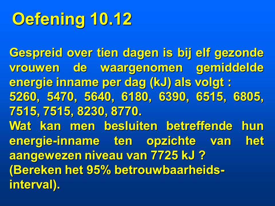 puntschatting : x = 141.8 mmHg n = 10 intervalschatting :  niet gekend 95%BI :  = 0.05 = 9 95% BI : [141.8 - 2.26*1.85; 141.8 + 2.26*1.85] = [137.6;