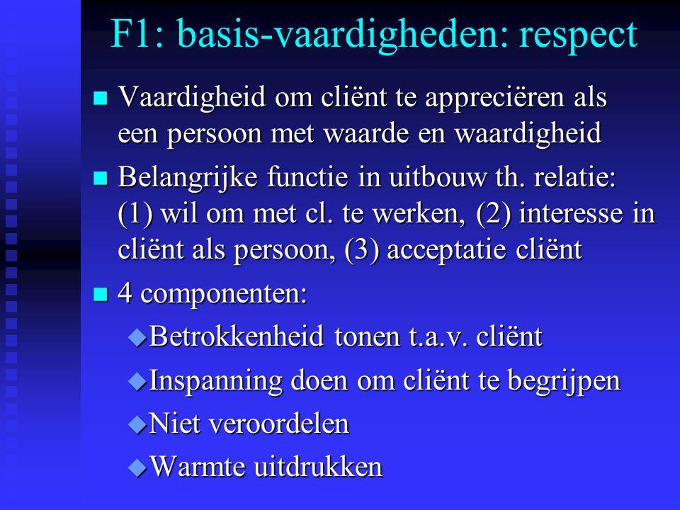 F1: basis-vaardigheden: respect n Vaardigheid om cliënt te appreciëren als een persoon met waarde en waardigheid n Belangrijke functie in uitbouw th.