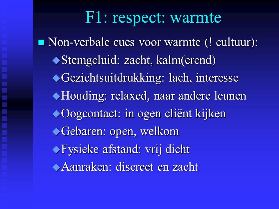 F1: respect: warmte n Non-verbale cues voor warmte (.