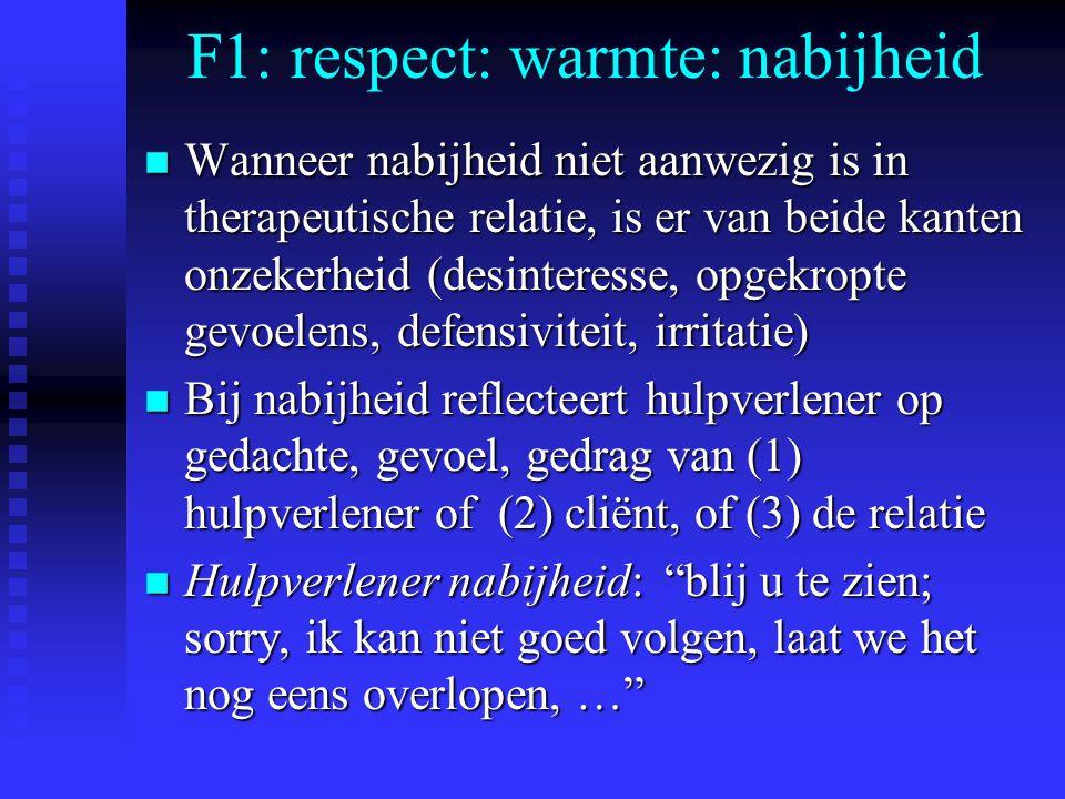 F1: respect: warmte: nabijheid n Wanneer nabijheid niet aanwezig is in therapeutische relatie, is er van beide kanten onzekerheid (desinteresse, opgekropte gevoelens, defensiviteit, irritatie) n Bij nabijheid reflecteert hulpverlener op gedachte, gevoel, gedrag van (1) hulpverlener of (2) cliënt, of (3) de relatie n Hulpverlener nabijheid: blij u te zien; sorry, ik kan niet goed volgen, laat we het nog eens overlopen, …