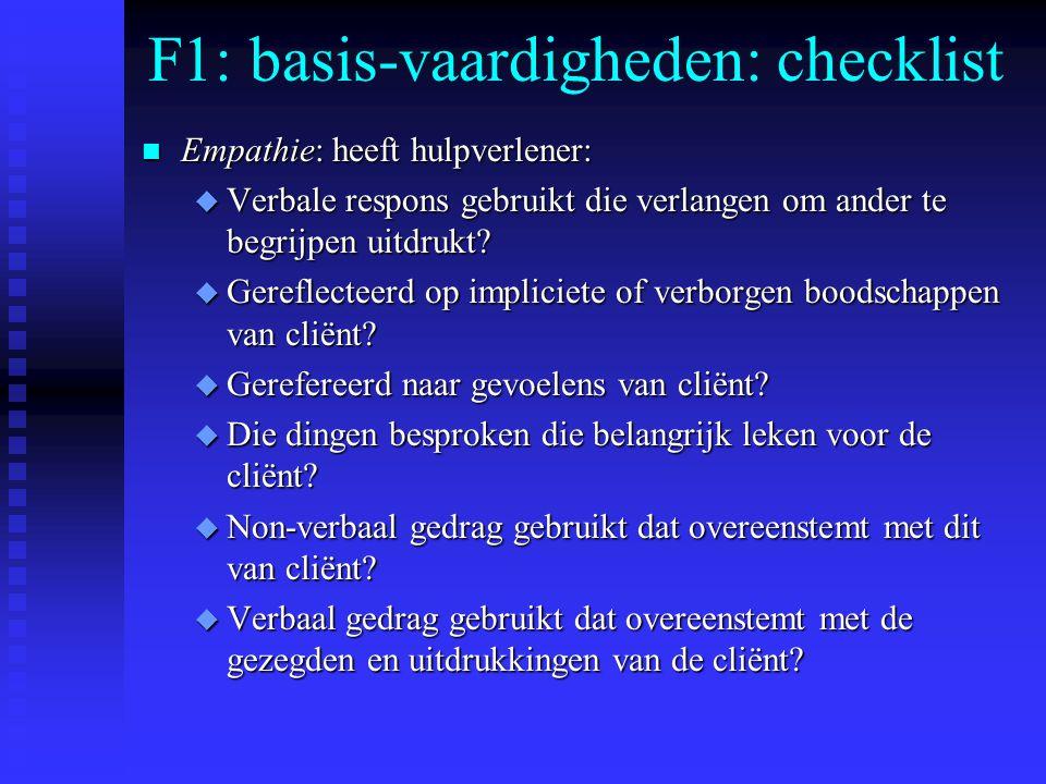 F1: basis-vaardigheden: checklist n Empathie: heeft hulpverlener: u Verbale respons gebruikt die verlangen om ander te begrijpen uitdrukt.