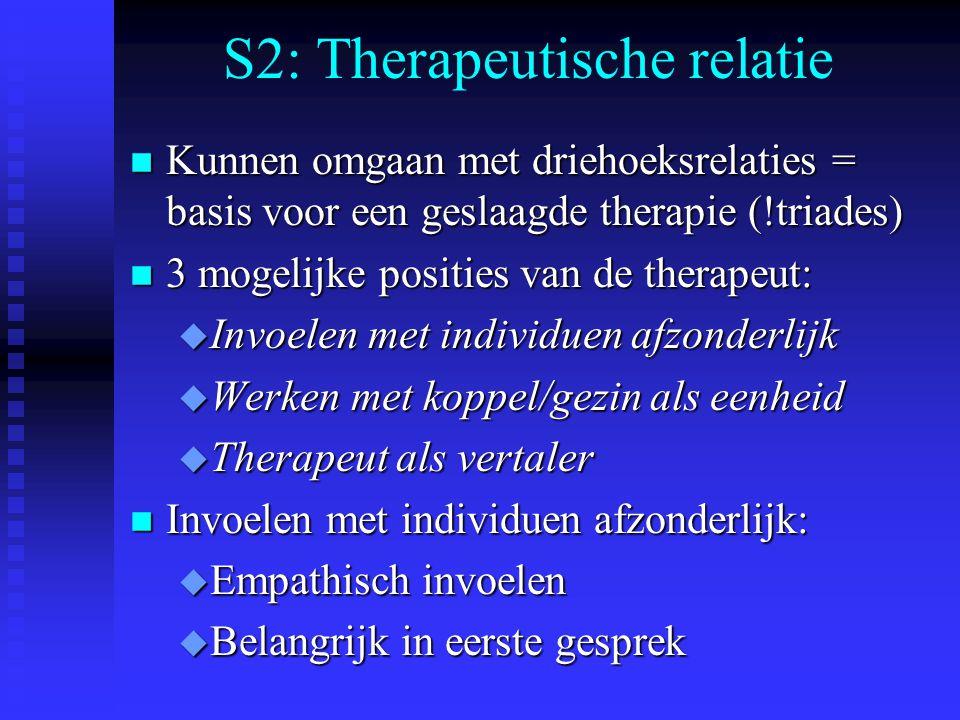 S2: Therapeutische relatie n Kunnen omgaan met driehoeksrelaties = basis voor een geslaagde therapie (!triades) n 3 mogelijke posities van de therapeut: u Invoelen met individuen afzonderlijk u Werken met koppel/gezin als eenheid u Therapeut als vertaler n Invoelen met individuen afzonderlijk: u Empathisch invoelen u Belangrijk in eerste gesprek
