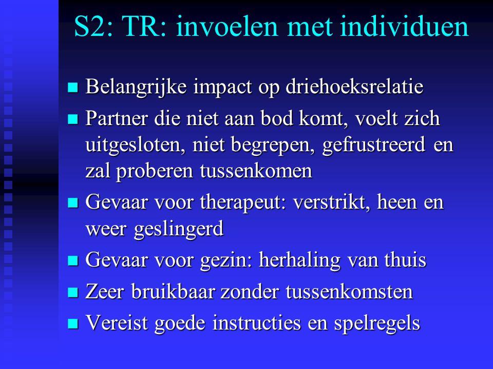 S2: TR: invoelen met individuen n Belangrijke impact op driehoeksrelatie n Partner die niet aan bod komt, voelt zich uitgesloten, niet begrepen, gefrustreerd en zal proberen tussenkomen n Gevaar voor therapeut: verstrikt, heen en weer geslingerd n Gevaar voor gezin: herhaling van thuis n Zeer bruikbaar zonder tussenkomsten n Vereist goede instructies en spelregels