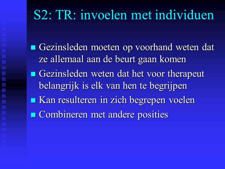 S2: TR: invoelen met individuen n Gezinsleden moeten op voorhand weten dat ze allemaal aan de beurt gaan komen n Gezinsleden weten dat het voor therapeut belangrijk is elk van hen te begrijpen n Kan resulteren in zich begrepen voelen n Combineren met andere posities
