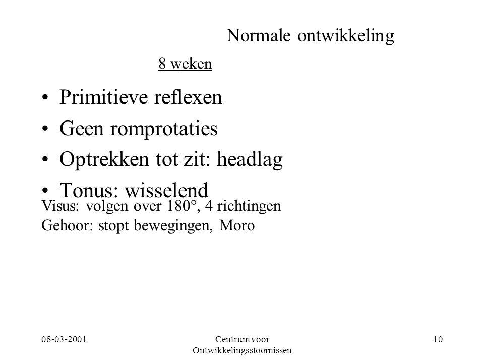 08-03-2001Centrum voor Ontwikkelingsstoornissen 10 Normale ontwikkeling Primitieve reflexen Geen romprotaties Optrekken tot zit: headlag Tonus: wissel