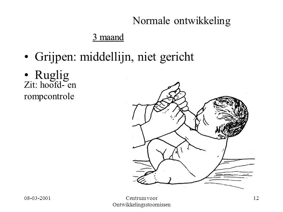 08-03-2001Centrum voor Ontwikkelingsstoornissen 12 Normale ontwikkeling Grijpen: middellijn, niet gericht Ruglig 3 maand Zit: hoofd- en rompcontrole