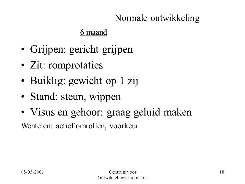08-03-2001Centrum voor Ontwikkelingsstoornissen 18 Normale ontwikkeling Grijpen: gericht grijpen Zit: romprotaties Buiklig: gewicht op 1 zij Stand: st
