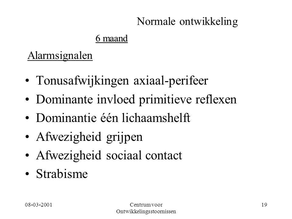 08-03-2001Centrum voor Ontwikkelingsstoornissen 19 Normale ontwikkeling Tonusafwijkingen axiaal-perifeer Dominante invloed primitieve reflexen Dominan