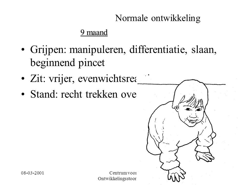 08-03-2001Centrum voor Ontwikkelingsstoornissen 21 Normale ontwikkeling Grijpen: manipuleren, differentiatie, slaan, beginnend pincet Zit: vrijer, eve