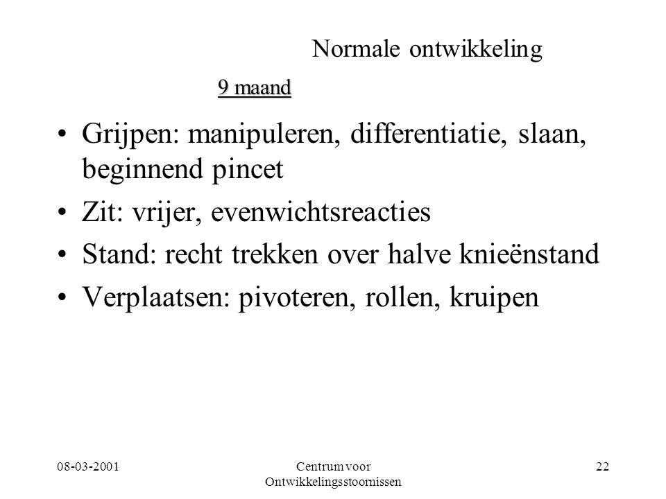 08-03-2001Centrum voor Ontwikkelingsstoornissen 22 Normale ontwikkeling Grijpen: manipuleren, differentiatie, slaan, beginnend pincet Zit: vrijer, eve