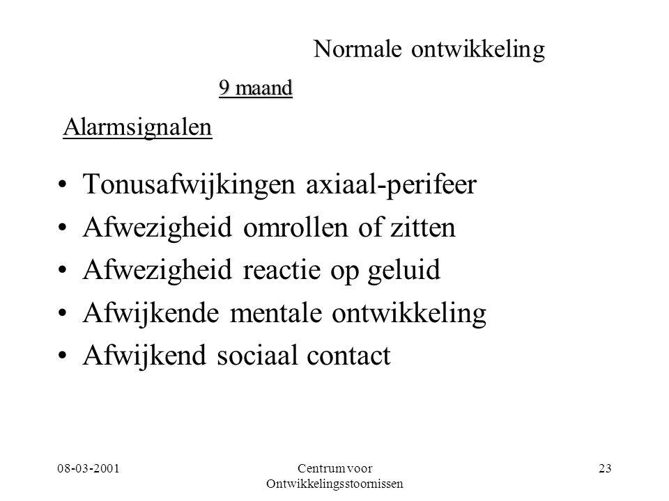 08-03-2001Centrum voor Ontwikkelingsstoornissen 23 Normale ontwikkeling Tonusafwijkingen axiaal-perifeer Afwezigheid omrollen of zitten Afwezigheid re