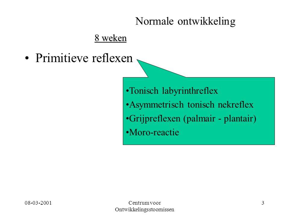 08-03-2001Centrum voor Ontwikkelingsstoornissen 3 Normale ontwikkeling Primitieve reflexen 8 weken Tonisch labyrinthreflex Asymmetrisch tonisch nekref