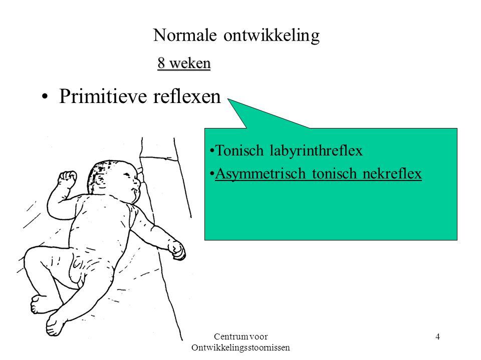 08-03-2001Centrum voor Ontwikkelingsstoornissen 4 Primitieve reflexen Tonisch labyrinthreflex Asymmetrisch tonisch nekreflex Normale ontwikkeling 8 we