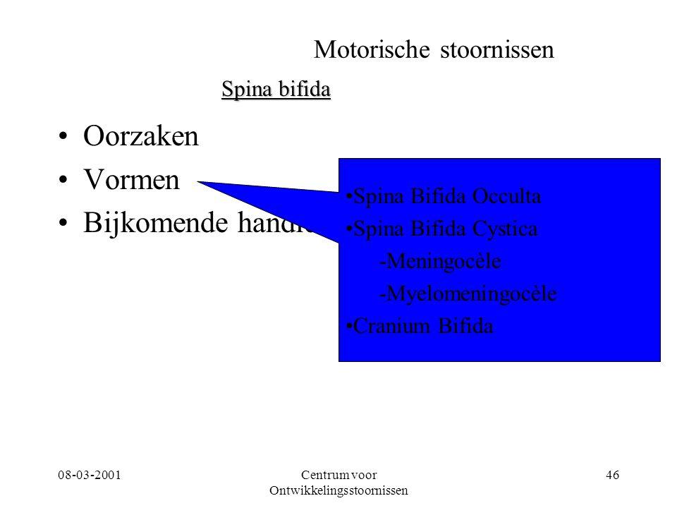 08-03-2001Centrum voor Ontwikkelingsstoornissen 46 Motorische stoornissen Oorzaken Vormen Bijkomende handicaps Spina bifida Spina Bifida Occulta Spina