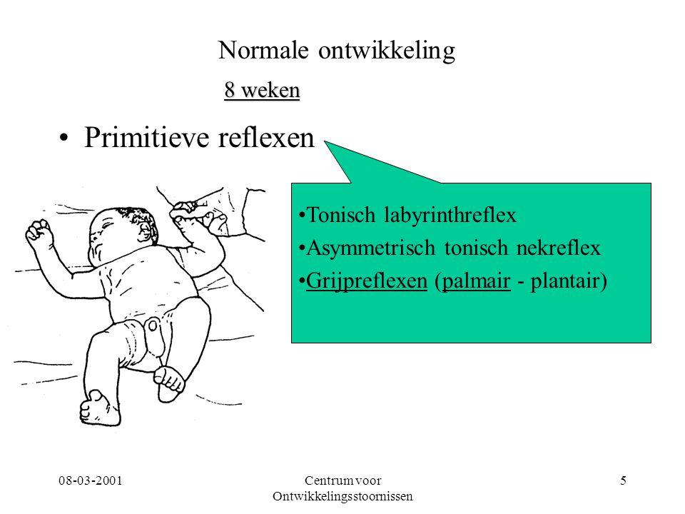 08-03-2001Centrum voor Ontwikkelingsstoornissen 5 Primitieve reflexen Tonisch labyrinthreflex Asymmetrisch tonisch nekreflex Grijpreflexen (palmair -