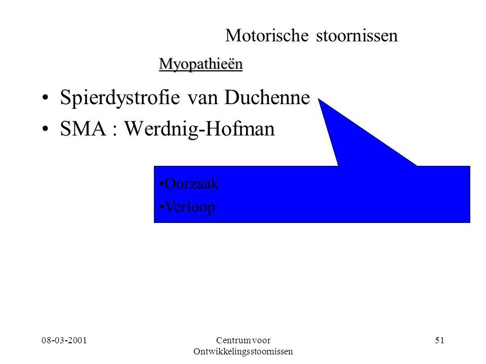 08-03-2001Centrum voor Ontwikkelingsstoornissen 51 Motorische stoornissen Spierdystrofie van Duchenne SMA : Werdnig-Hofman Myopathieën Oorzaak Verloop