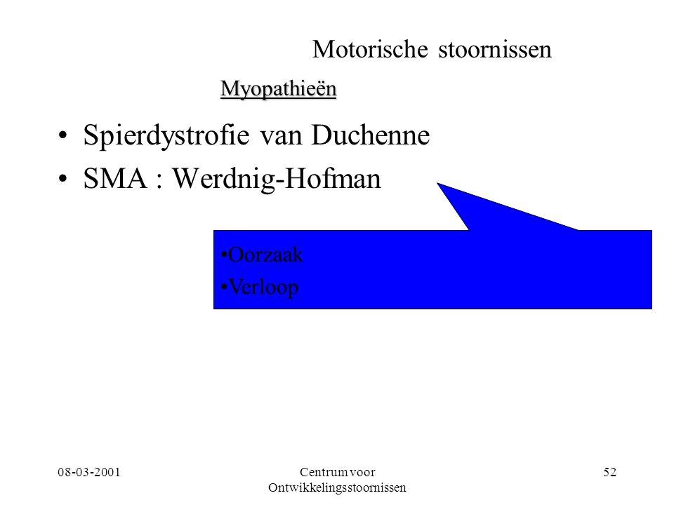 08-03-2001Centrum voor Ontwikkelingsstoornissen 52 Motorische stoornissen Spierdystrofie van Duchenne SMA : Werdnig-Hofman Myopathieën Oorzaak Verloop