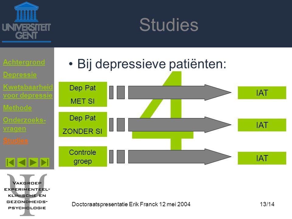 Doctoraatspresentatie Erik Franck 12 mei 200413/14 Studies 4 Bij depressieve patiënten: Achtergrond Depressie Kwetsbaarheid voor depressie Methode Ond