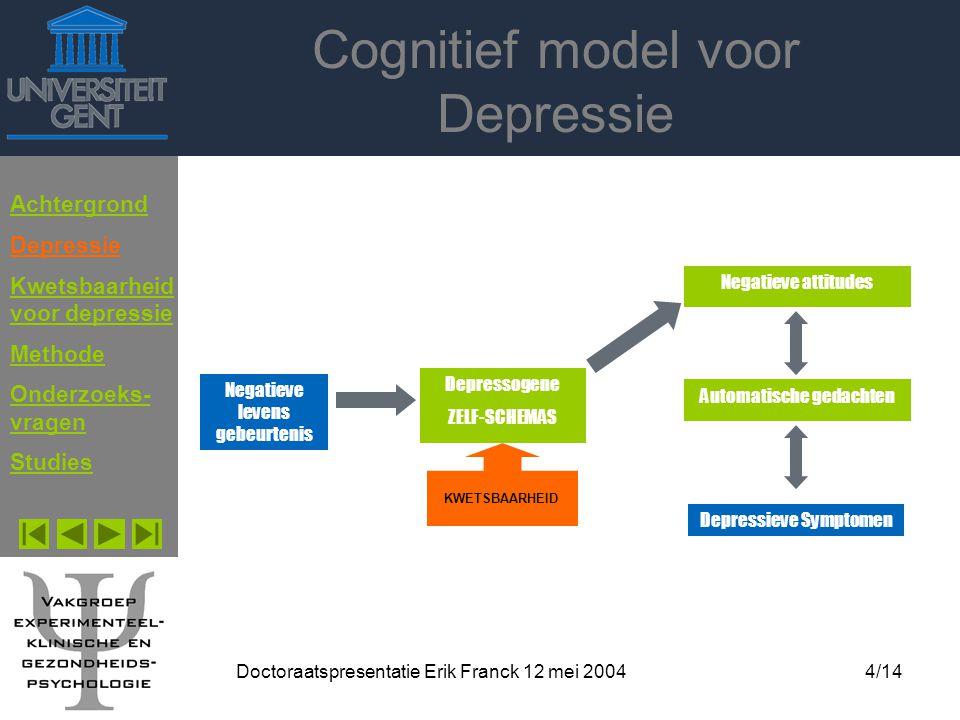 Doctoraatspresentatie Erik Franck 12 mei 20044/14 Cognitief model voor Depressie Achtergrond Depressie Kwetsbaarheid voor depressie Methode Onderzoeks