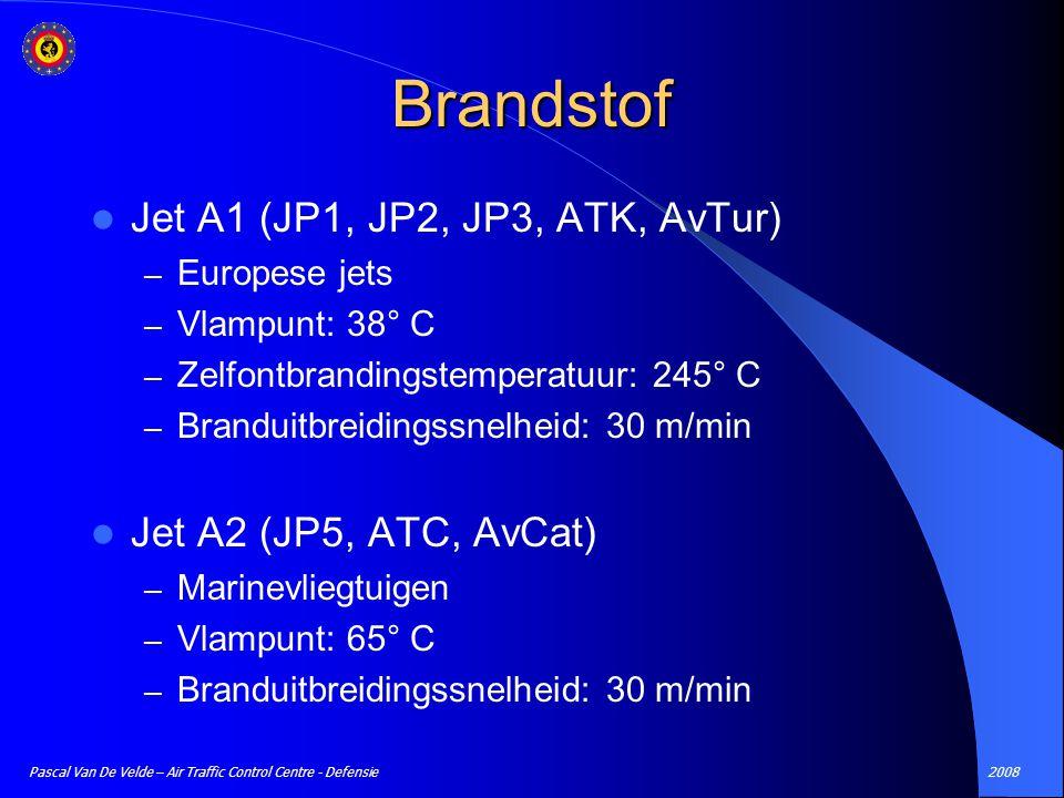 2008Pascal Van De Velde – Air Traffic Control Centre - Defensie Brandstof Jet A1 (JP1, JP2, JP3, ATK, AvTur) – Europese jets – Vlampunt: 38° C – Zelfo