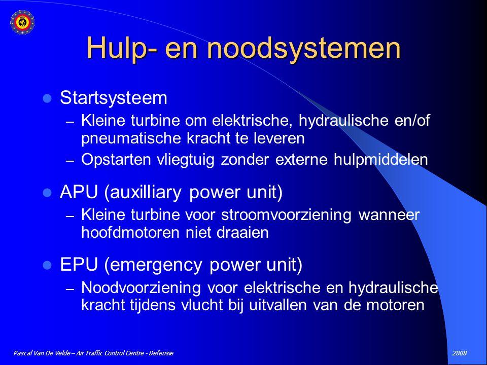 2008Pascal Van De Velde – Air Traffic Control Centre - Defensie Hulp- en noodsystemen Startsysteem – Kleine turbine om elektrische, hydraulische en/of