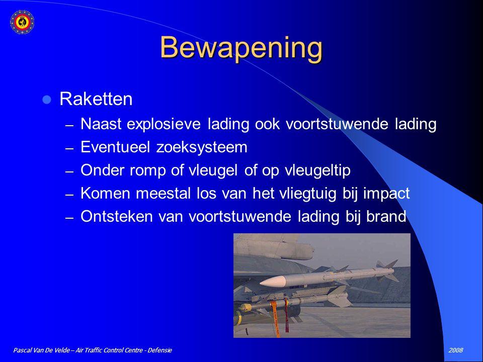 2008Pascal Van De Velde – Air Traffic Control Centre - Defensie Bewapening Raketten – Naast explosieve lading ook voortstuwende lading – Eventueel zoe