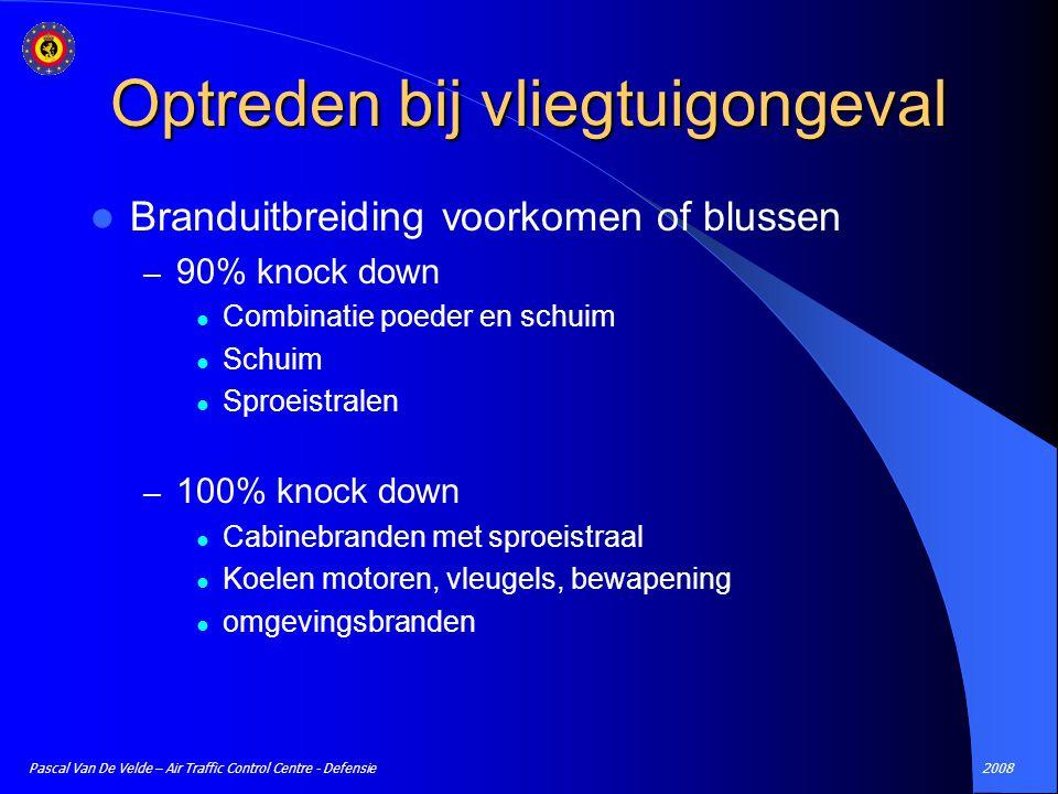 2008Pascal Van De Velde – Air Traffic Control Centre - Defensie Branduitbreiding voorkomen of blussen – 90% knock down Combinatie poeder en schuim Sch