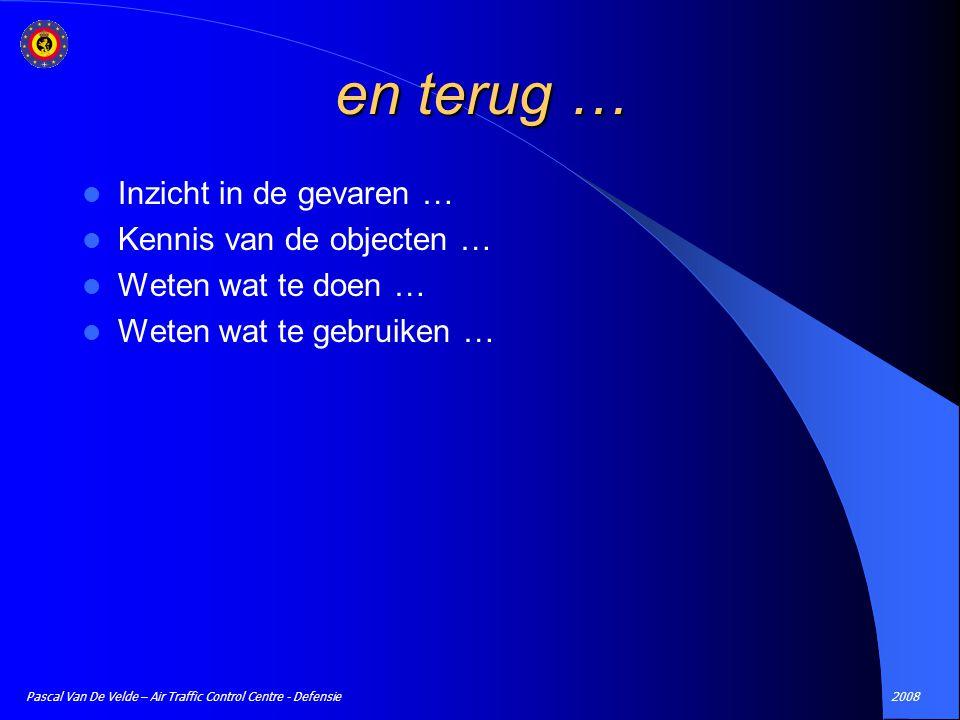 2008Pascal Van De Velde – Air Traffic Control Centre - Defensie en terug … Inzicht in de gevaren … Kennis van de objecten … Weten wat te doen … Weten