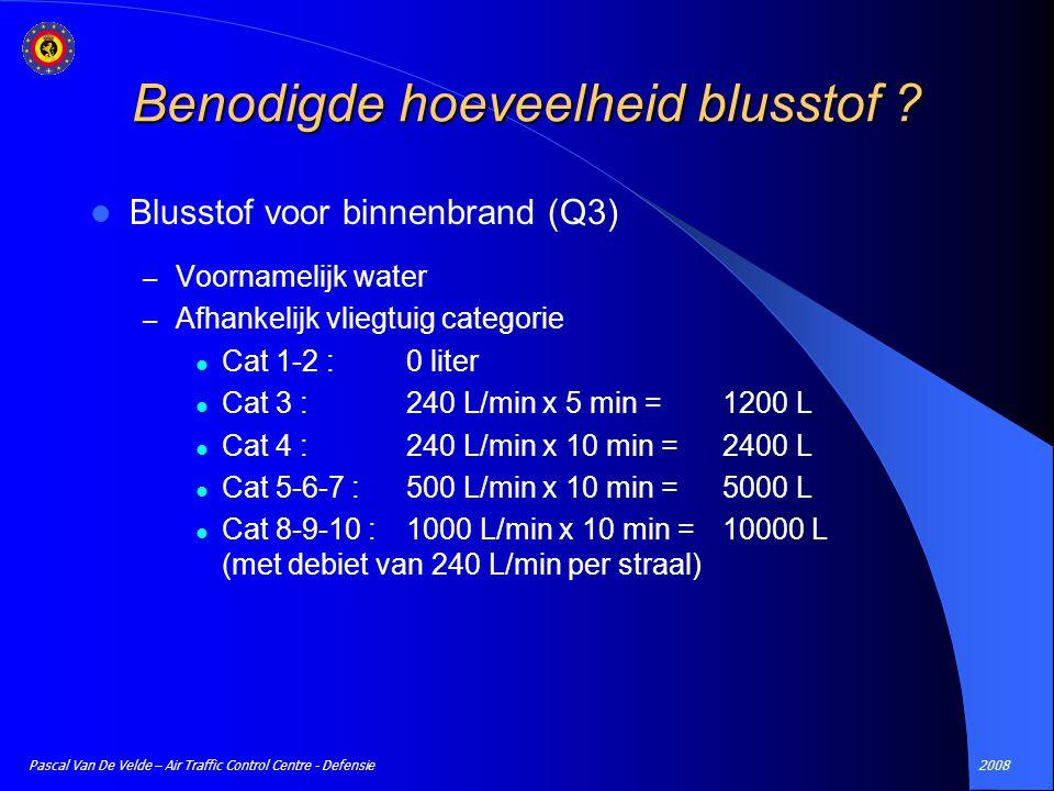 2008Pascal Van De Velde – Air Traffic Control Centre - Defensie Blusstof voor binnenbrand (Q3) – Voornamelijk water – Afhankelijk vliegtuig categorie