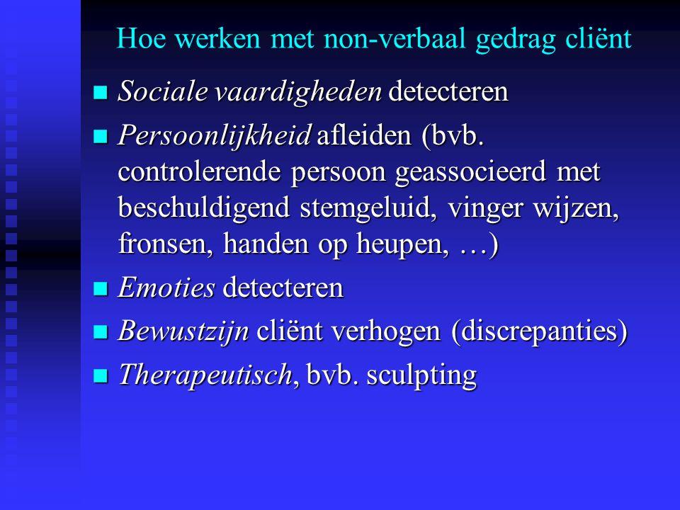 Hoe werken met non-verbaal gedrag cliënt n Sociale vaardigheden detecteren n Persoonlijkheid afleiden (bvb. controlerende persoon geassocieerd met bes