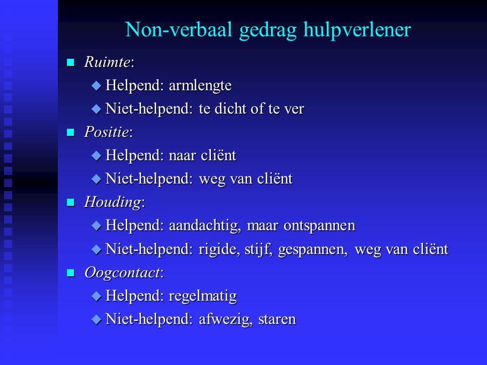 Non-verbaal gedrag hulpverlener n Ruimte: u Helpend: armlengte u Niet-helpend: te dicht of te ver n Positie: u Helpend: naar cliënt u Niet-helpend: we