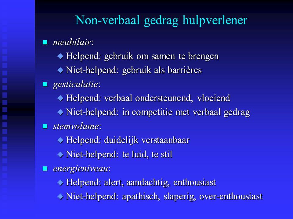 Non-verbaal gedrag hulpverlener n meubilair: u Helpend: gebruik om samen te brengen u Niet-helpend: gebruik als barrières n gesticulatie: u Helpend: v