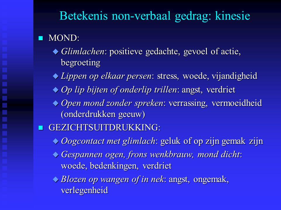Betekenis non-verbaal gedrag: kinesie n MOND: u Glimlachen: positieve gedachte, gevoel of actie, begroeting u Lippen op elkaar persen: stress, woede,