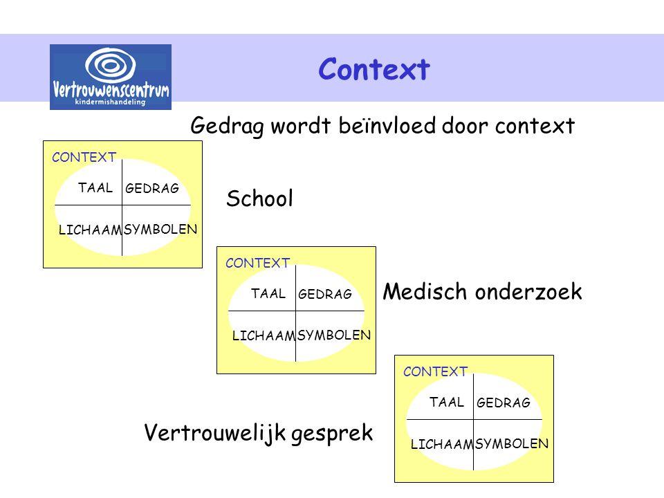 Context Gedrag wordt beïnvloed door context School Medisch onderzoek Vertrouwelijk gesprek SYMBOLEN TAAL LICHAAM GEDRAG CONTEXT SYMBOLEN TAAL LICHAAM