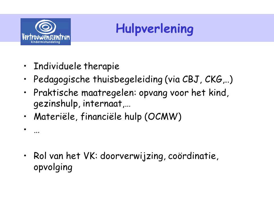 Hulpverlening Individuele therapie Pedagogische thuisbegeleiding (via CBJ, CKG,..) Praktische maatregelen: opvang voor het kind, gezinshulp, internaat