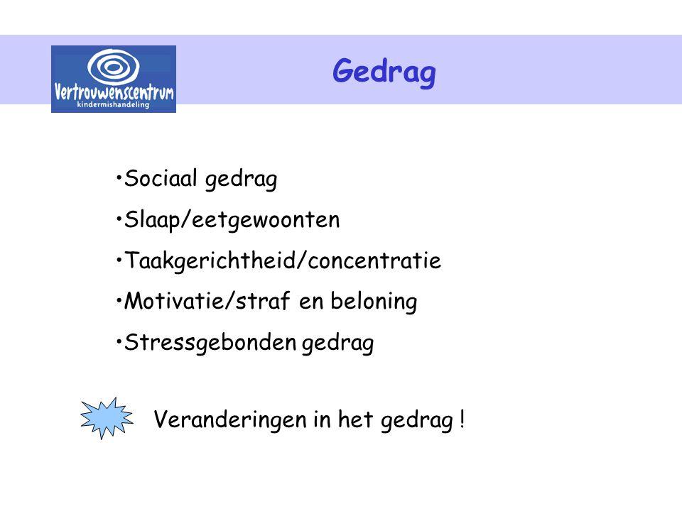 Gedrag Sociaal gedrag Slaap/eetgewoonten Taakgerichtheid/concentratie Motivatie/straf en beloning Stressgebonden gedrag Veranderingen in het gedrag !