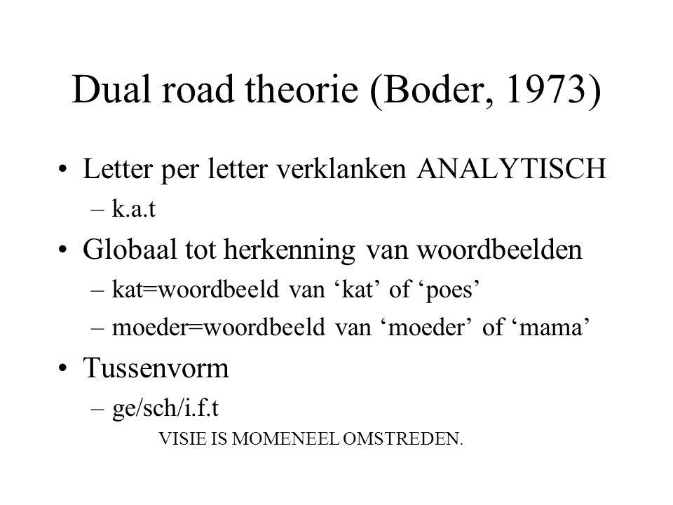 Dual road theorie (Boder, 1973) Letter per letter verklanken ANALYTISCH –k.a.t Globaal tot herkenning van woordbeelden –kat=woordbeeld van 'kat' of 'p