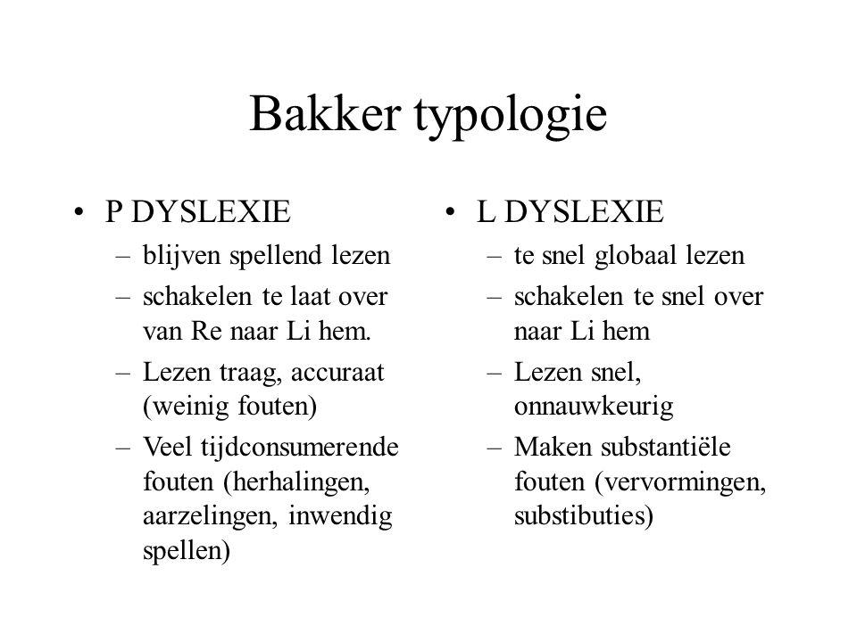 Bakker typologie P DYSLEXIE –blijven spellend lezen –schakelen te laat over van Re naar Li hem. –Lezen traag, accuraat (weinig fouten) –Veel tijdconsu