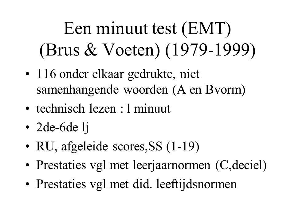 Een minuut test (EMT) (Brus & Voeten) (1979-1999) 116 onder elkaar gedrukte, niet samenhangende woorden (A en Bvorm) technisch lezen : l minuut 2de-6d