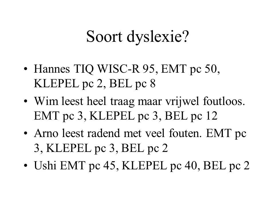Soort dyslexie? Hannes TIQ WISC-R 95, EMT pc 50, KLEPEL pc 2, BEL pc 8 Wim leest heel traag maar vrijwel foutloos. EMT pc 3, KLEPEL pc 3, BEL pc 12 Ar