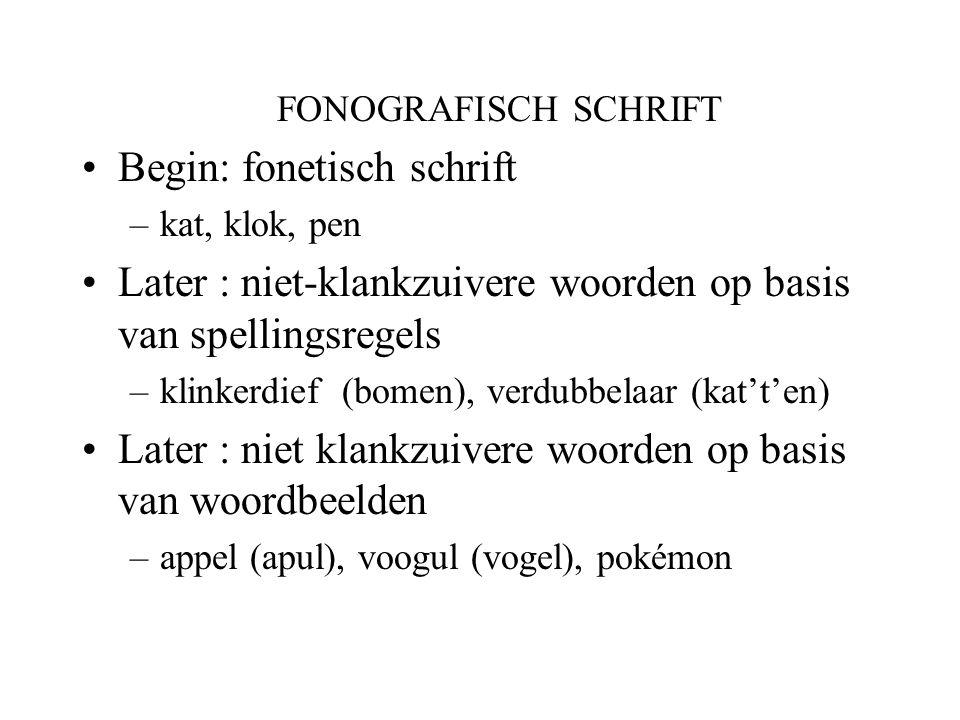 FONOGRAFISCH SCHRIFT Begin: fonetisch schrift –kat, klok, pen Later : niet-klankzuivere woorden op basis van spellingsregels –klinkerdief (bomen), ver