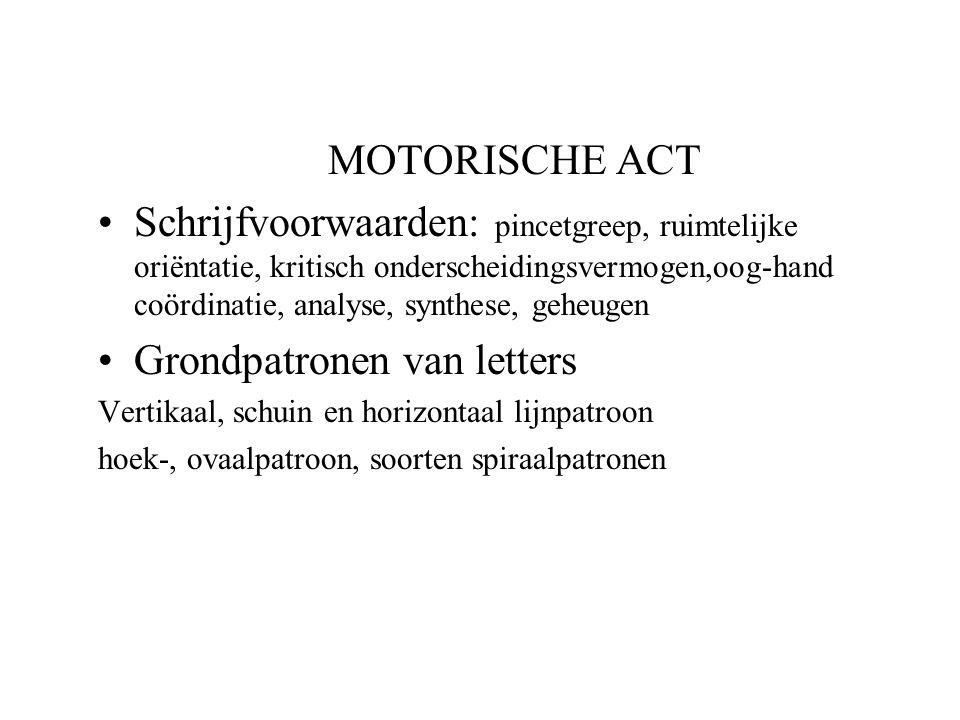 MOTORISCHE ACT Schrijfvoorwaarden: pincetgreep, ruimtelijke oriëntatie, kritisch onderscheidingsvermogen,oog-hand coördinatie, analyse, synthese, gehe
