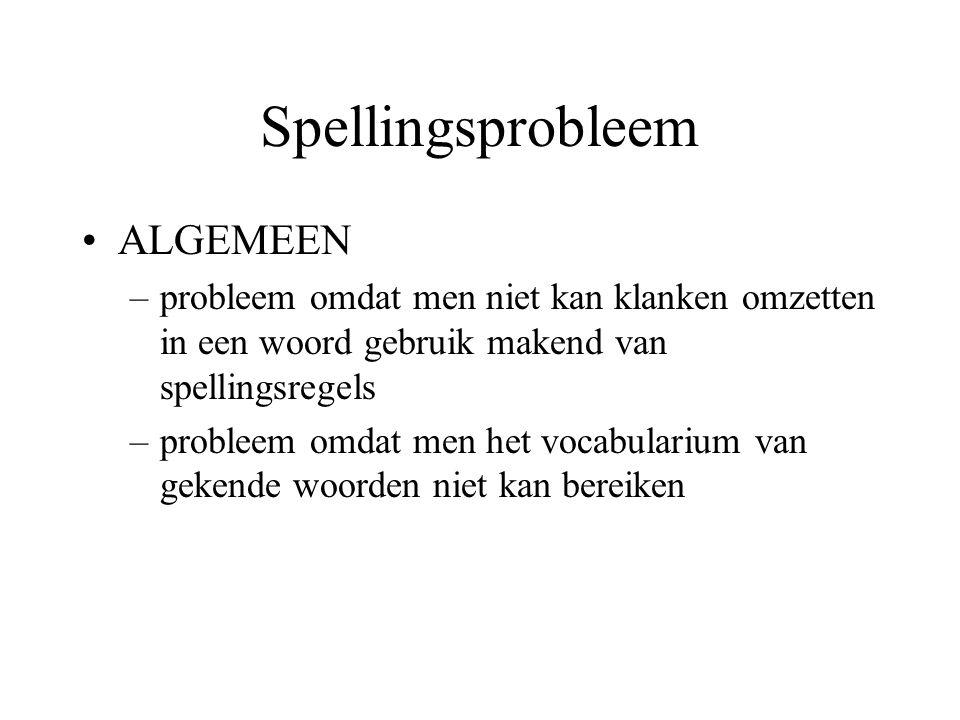 Spellingsprobleem ALGEMEEN –probleem omdat men niet kan klanken omzetten in een woord gebruik makend van spellingsregels –probleem omdat men het vocab