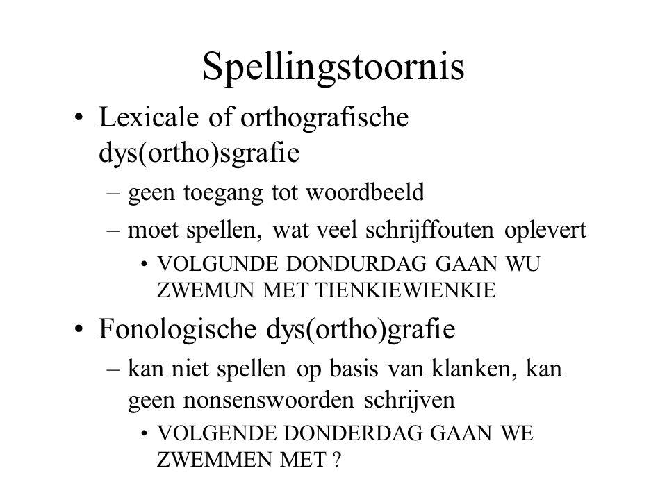 Spellingstoornis Lexicale of orthografische dys(ortho)sgrafie –geen toegang tot woordbeeld –moet spellen, wat veel schrijffouten oplevert VOLGUNDE DON
