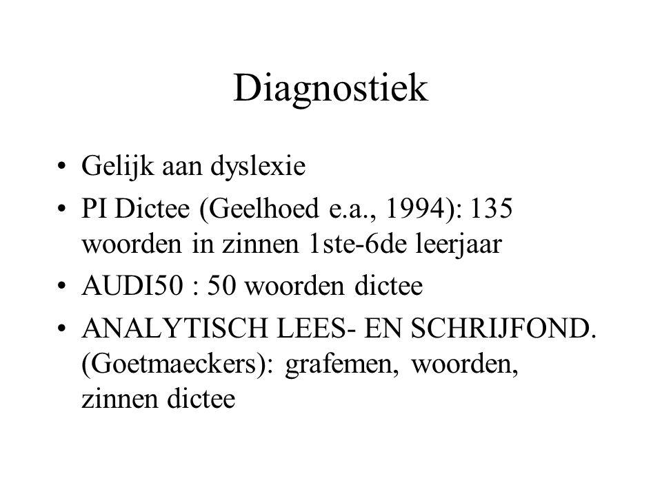 Diagnostiek Gelijk aan dyslexie PI Dictee (Geelhoed e.a., 1994): 135 woorden in zinnen 1ste-6de leerjaar AUDI50 : 50 woorden dictee ANALYTISCH LEES- E